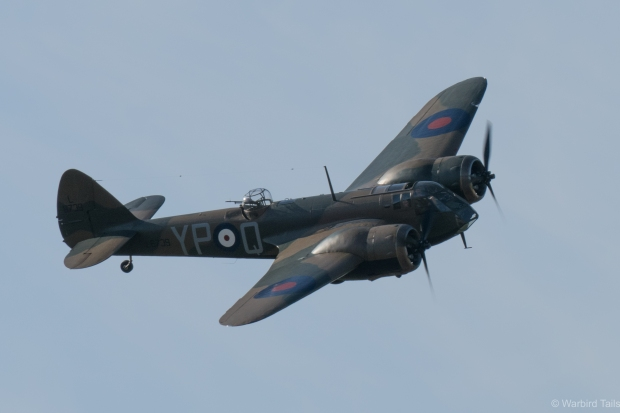 John Romain bringing the Blenheim round for a pass.