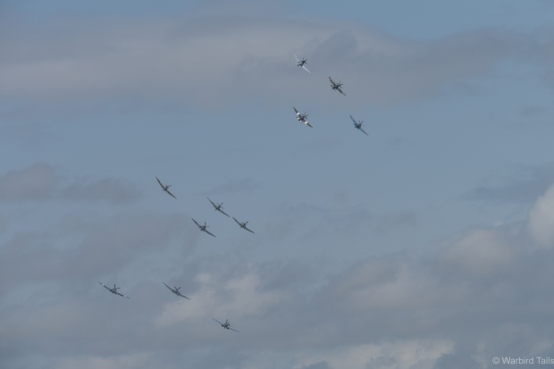 11 Spitfires in formation is always an impressive sight.