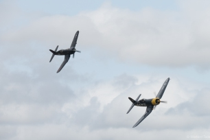 The Corsair pair run in for a pass during their display.