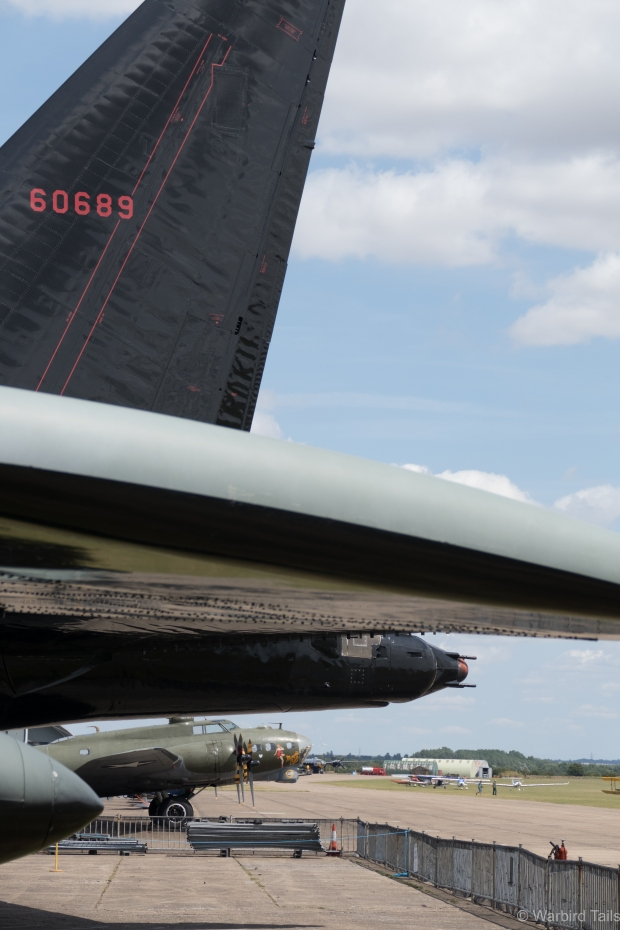 Three generations of Boeing heavy bombers in one shot.
