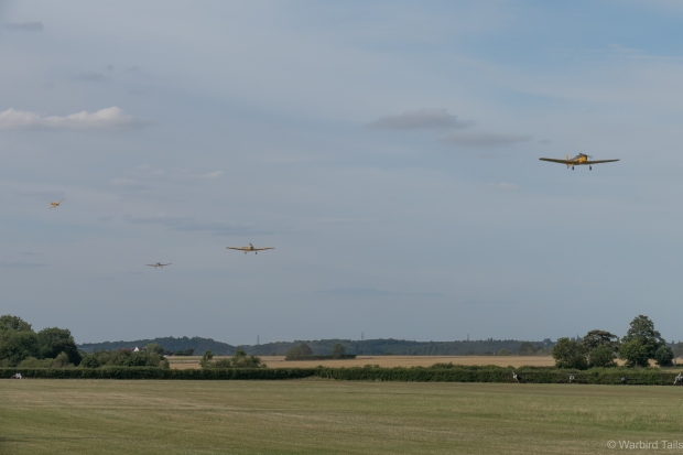 An incredibly rare sight was the four ship display from the last four airworthy Miles Magisters.