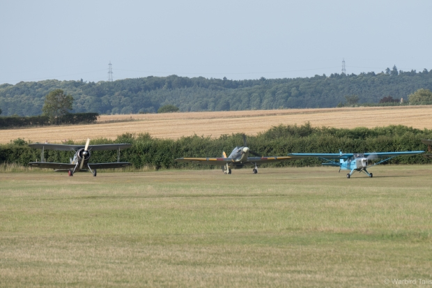 The amusing sight of the Auster getting airborne ahead of the Hurricane and Gladiator.