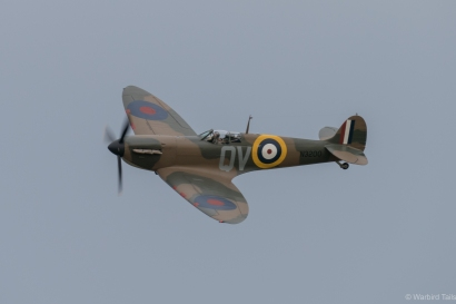 The Spitfire flies past during its display.