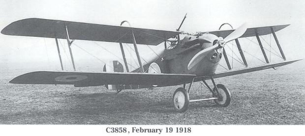 C3858 shown here in February 1919 with the night fighter modifications in place.
