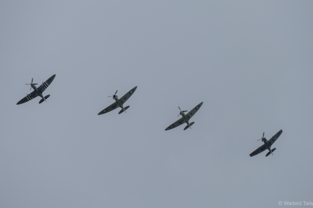 Four Spitfires from Mortimer flight circling above Biggin Hill.