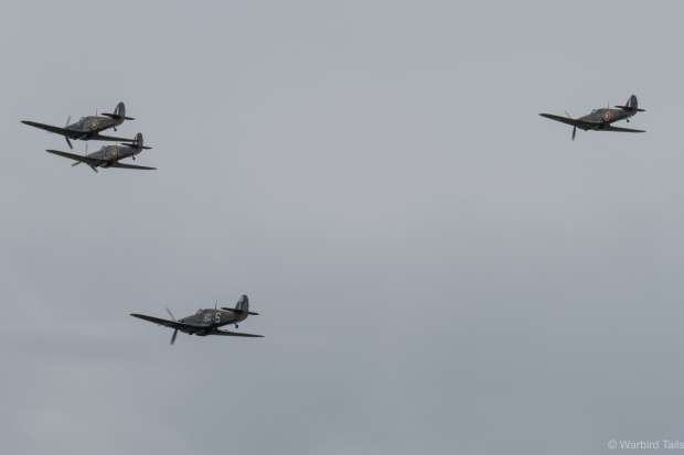 Four Hurricanes in close formation were a highlight of Hamlyn flight.