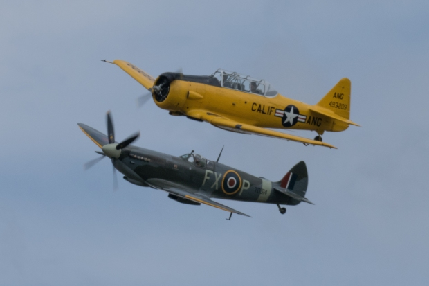 The Aero Legends T6 and Spitfire performed together and on their own during the afternoon.