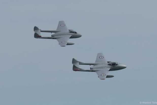 The graceful sight of a pair of de Havilland's finest - The Norwegian Vampires.