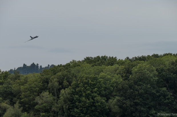 Over the trees at Dunsfold in the gloom seems to have become a Vulcan trademark over the years.