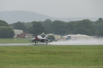 """The Mig getting airborne from the """"damp"""" runway at Dunsfold."""