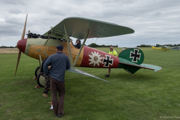 The Albatros being prepared for an engine run.