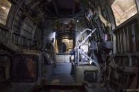 Inside the HE111, still set up as a troop carrier.