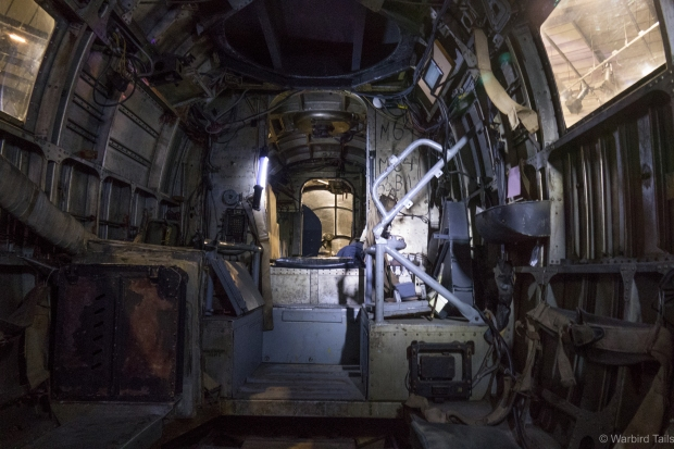 Inside the HE111, still set up as a troop carrier.