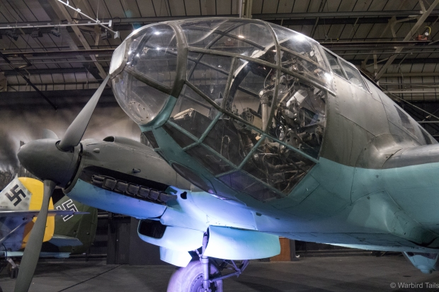 The iconic glass nose of the Heinkel HE111.