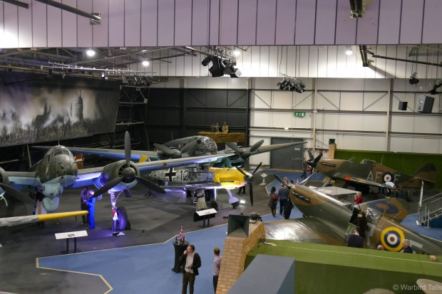 An overview of the hall with the 109, Spitfire and Hurricane on show.