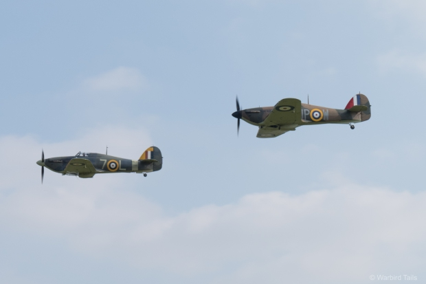 Old Warden's pair of Hurricanes making their first appearance together.