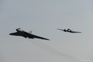 One of the most fitting formations XH558 has taken part in over the years. Pairing up with BAE Systems Avro XIX/Anson.
