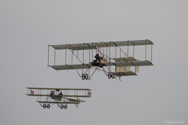 The iconic Shuttleworth sight of the Boxkite and Triplane in the air together.