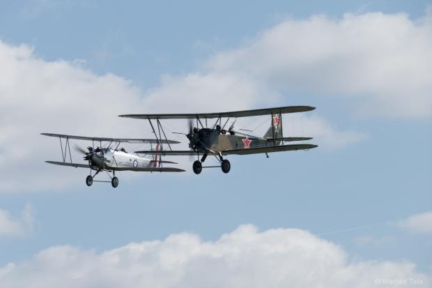 An unusual pairing, Polikarpov PO2 and Hawker Tomtit.