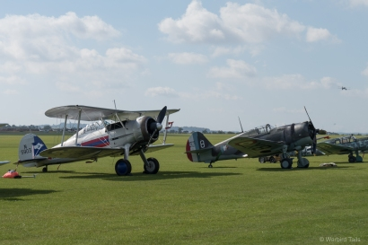 Gladiator and Hawk 75, two classic Battle of France types share the flightline.