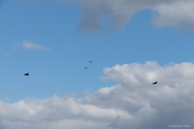 The Spitfires joined two F-15s for a special flypast on the Saturday.