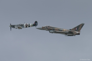 The synchro 75 pair pass by during their last public display of the season at Duxford