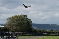 The Blenheim gets airborne with the waiting crowds below